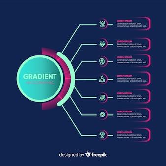 Modèle d'infographie en style dégradé