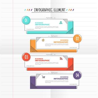Modèle d'infographie avec style dessiné à la main