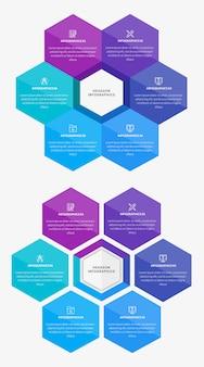 Modèle d'infographie style hexagone
