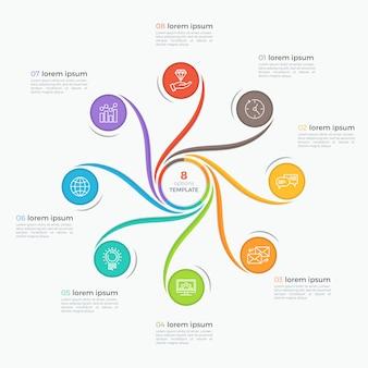 Modèle d'infographie de style tourbillon avec 8 options