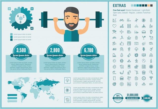 Modèle d'infographie de style de vie design plat et ensemble d'icônes