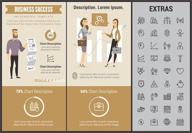 Modèle d'infographie de succès commercial et éléments