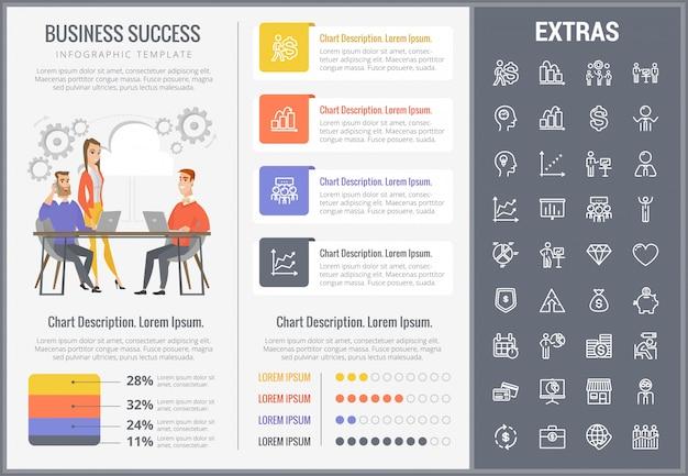 Modèle d'infographie de succès commerciaux et icônes
