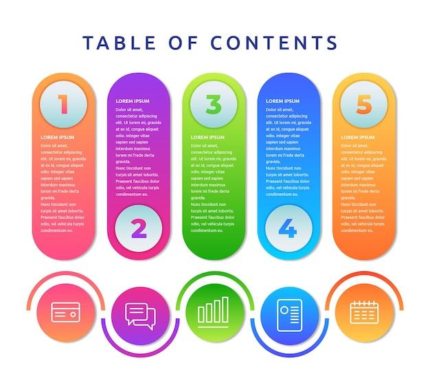 Modèle d'infographie de table des matières de conception plate