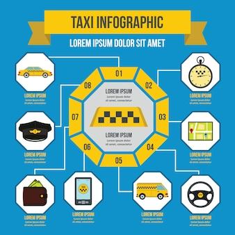 Modèle d'infographie de taxi, style plat