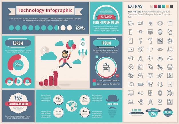 Modèle d'infographie technologie design plat