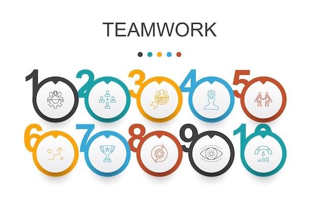 Modèle d'infographie tendance de conférence en ligne. conception en ligne fine avec discussion de groupe, apprentissage en ligne, webinaire, icônes de conférence téléphonique