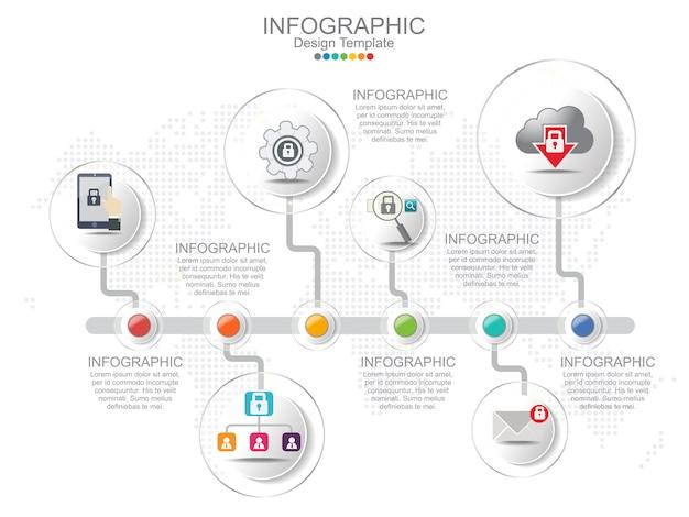 Modèle d'infographie timeliane avec la mise en page du cadre et du texte.