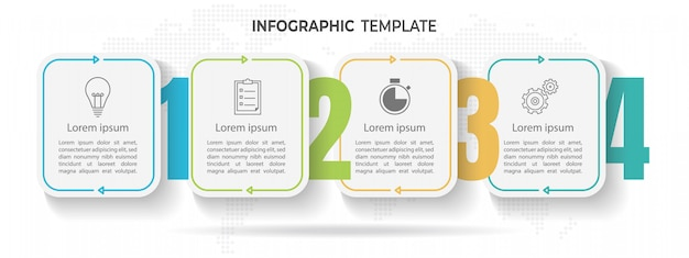 Modèle d'infographie de la timeline minimale 4 options ou étapes.