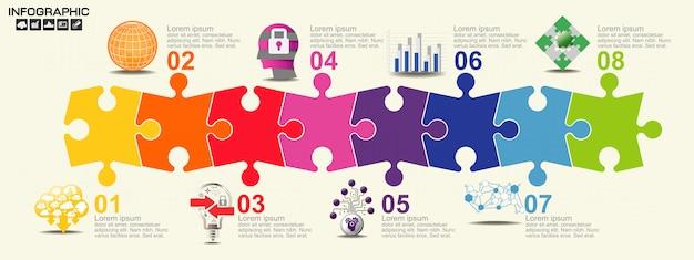 Modèle d'infographie timeline avec options.