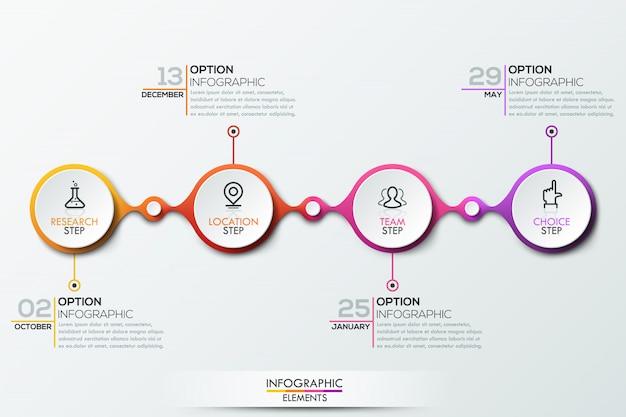 Modèle d'infographie avec timeline
