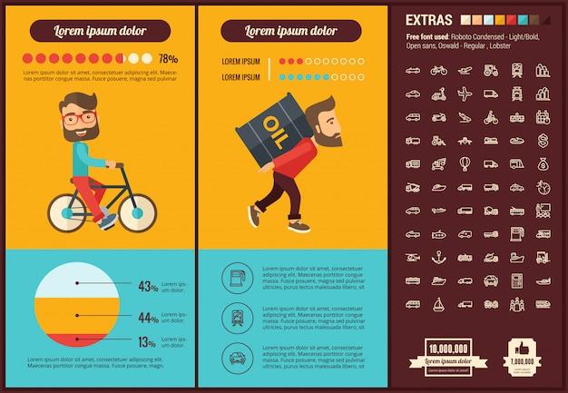 Modèle d'infographie de transport design plat et ensemble d'icônes