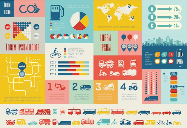 Modèle d'infographie de transport.
