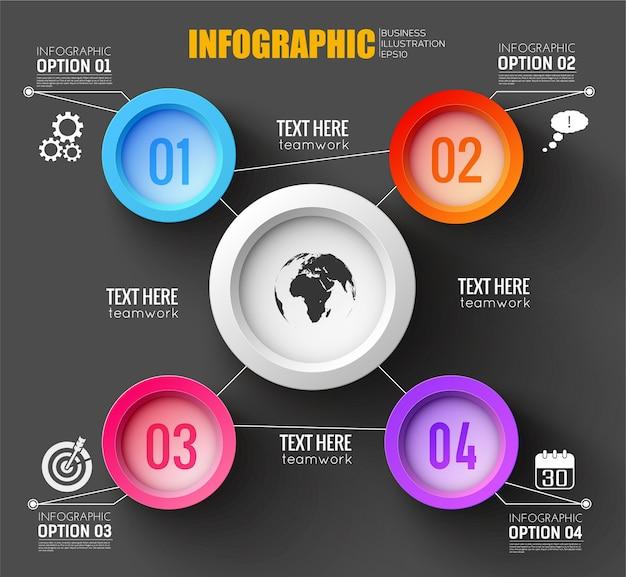 Modèle d'infographie de travail d'équipe avec la silhouette de la carte du monde, dessin sur puce ronde blanche et quatre boutons numérotés colorés autour de plat