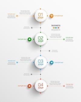 Modèle d'infographie de vecteur d'entreprise avec 4 étapes