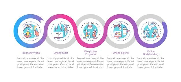 Modèle d'infographie de vecteur de programmes d'exercice. visualisation des données en 5 étapes.