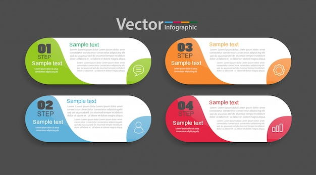 Modèle d'infographie vectorielle avec 4 options, flux de travail, diagramme de processus.