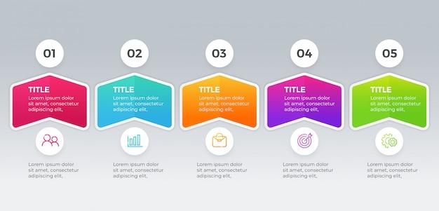 Modèle d'infographie vectorielle avec cinq étapes d'options