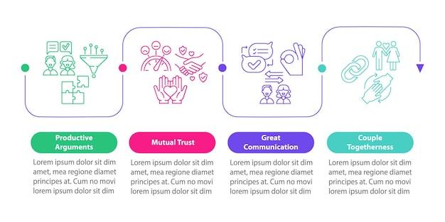 Modèle d'infographie vectorielle de confiance mutuelle. éléments de conception de contour de présentation de couple de convivialité. visualisation des données en 4 étapes. diagramme d'informations sur la chronologie du processus. disposition du flux de travail avec des icônes de ligne