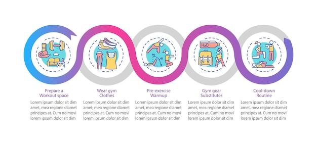 Modèle d'infographie vectorielle de conseils d'exercice à domicile. visualisation des données en 5 étapes.