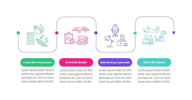 Modèle d'infographie vectorielle de conseils de travail à domicile. pauses et éléments de conception de présentation de lieu de travail silencieux. visualisation des données en 4 étapes. diagramme de chronologie de processus. disposition du flux de travail avec des icônes linéaires