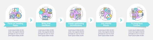 Modèle d'infographie vectorielle de création de contenu partageable. éléments de conception de contour de présentation de captivation. visualisation des données en 5 étapes. diagramme d'informations sur la chronologie du processus. disposition du flux de travail avec des icônes de ligne