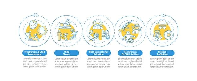 Modèle d'infographie vectorielle sur l'enlèvement et le commerce d'enfants. éléments de conception de contour de présentation. visualisation des données en 5 étapes. diagramme d'informations sur la chronologie du processus. disposition du flux de travail avec des icônes de ligne