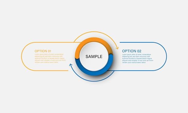 Modèle d'infographie vectorielle avec étiquette cercle et fine ligne avec élément numérique. concept d'entreprise avec 2 options.