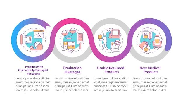 Modèle d'infographie vectorielle de fabricants médicaux. éléments de conception des grandes lignes de la présentation de l'aide humanitaire. visualisation des données en 4 étapes. diagramme d'informations sur la chronologie du processus. disposition du flux de travail avec des icônes de ligne