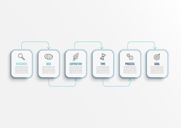 Modèle d'infographie vectorielle avec des icônes et 6 options.