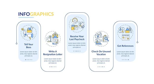 Modèle d'infographie vectorielle de liste de contrôle de changement d'emploi. comment laisser vos éléments de conception de présentation de travail. visualisation des données en 5 étapes. diagramme de chronologie de processus. disposition du flux de travail avec des icônes linéaires