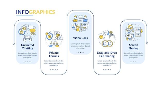 Modèle d'infographie vectorielle d'option de messagerie d'entreprise. éléments de conception de contour de présentation messenger. visualisation des données en 5 étapes. diagramme d'informations sur la chronologie du processus. disposition du flux de travail avec des icônes de ligne
