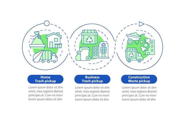 Modèle d'infographie vectorielle pour la collecte des ordures et le transfert. éléments de conception de contour de présentation. visualisation des données en 3 étapes. diagramme d'informations sur la chronologie du processus. disposition du flux de travail avec des icônes de ligne