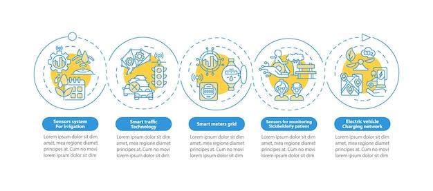 Modèle d'infographie vectorielle de projets de ville intelligente. la présentation des technologies de la ville décrit les éléments de conception. visualisation des données en 5 étapes. diagramme d'informations sur la chronologie du processus. disposition du flux de travail avec des icônes de ligne
