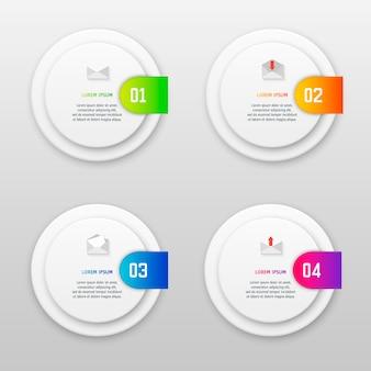 Modèle d'infographie vectorielle avec quatre options de style de conception matérielle.