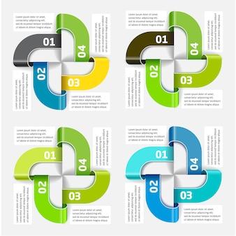 Modèle d'infographie vectorielle des quatre segments et des couleurs