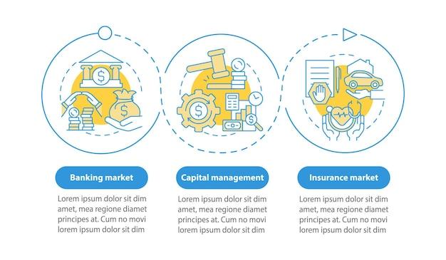 Modèle d'infographie vectorielle des sphères de droit financier. éléments de conception de contour de présentation de gestion de l'argent. visualisation des données en 3 étapes. diagramme d'informations sur la chronologie du processus. disposition du flux de travail avec des icônes de ligne