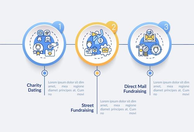 Modèle d'infographie vectorielle de types de collecte de fonds. collecter des fonds sur les éléments de conception de présentation de rue. visualisation des données en 3 étapes. diagramme d'informations sur la chronologie du processus. disposition du flux de travail avec des icônes de ligne