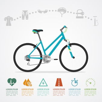 Modèle d'infographie avec vélo et icônes, illustration de style