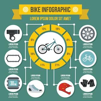 Modèle d'infographie de vélo, style plat