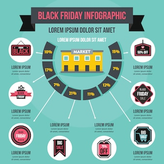 Modèle d'infographie vendredi noir, style plat