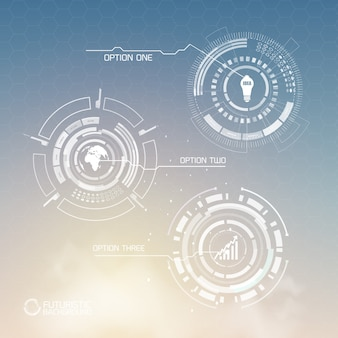Modèle d'infographie virtuelle numérique avec des icônes d'affaires de formes abstraites et trois options sur la lumière