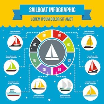 Modèle d'infographie de voilier, style plat