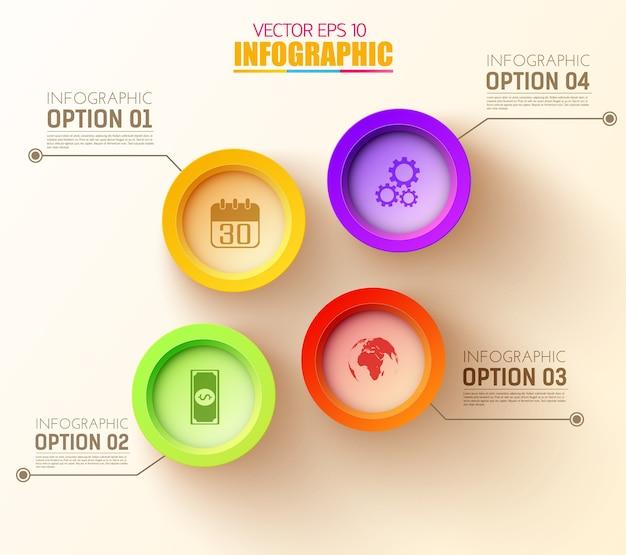 Modèle d'infographie web abstrait avec des cercles colorés et des icônes d'affaires