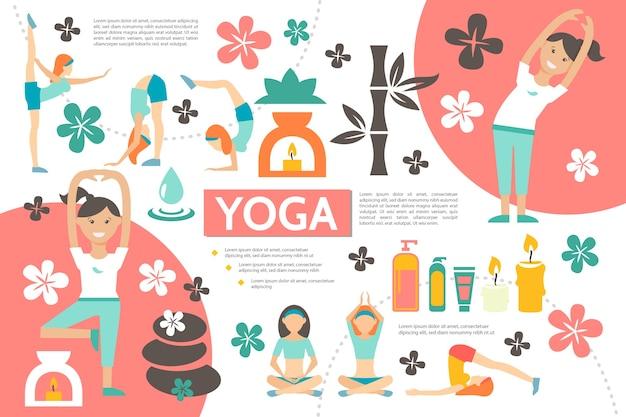 Modèle d'infographie yoga plat avec des filles exerçant dans différentes poses de remise en forme spa en bambou produits cosmétiques fleurs pierres bougies illustration