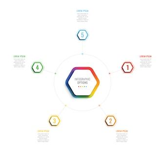 Modèle infographique 3d de cinq étapes avec des éléments hexagonaux.