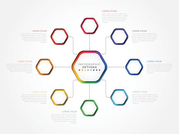 Modèle infographique 3d huit étapes avec éléments hexagonaux