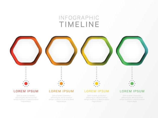 Modèle infographique 3d en quatre étapes avec des éléments hexagonaux.
