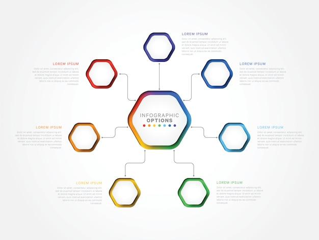 Modèle infographique 3d de sept étapes avec éléments hexagonaux