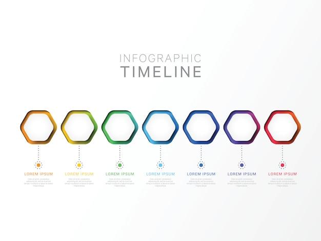 Modèle infographique 3d de sept étapes avec des éléments hexagonaux.